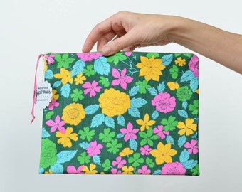 Bold Retro Blossoms Pouch in Vintage Fabric | Make-up/Cosmetic/Project Bag | Bright Pink/Yellow/Green Floral