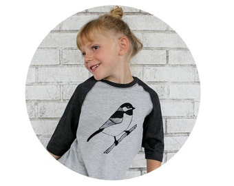Sweet Chickadee Bird Baseball Tshirt, Youth Raglan Tee Shirt, Ladies Top, Mens Clothing, Juniors Shirt, Toddler T Shirt Black and Grey