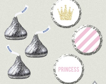 Pink and Gold Princess Hershey Kisses Labels, Princess Kiss Stickers, Printable Kiss Labels, Princess Birthday Party, Royal Baby Shower