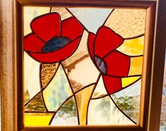 Abstract poppies in the sun stained glass panel
