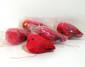 Feather Birds, Fat Red Birds, Set of Five