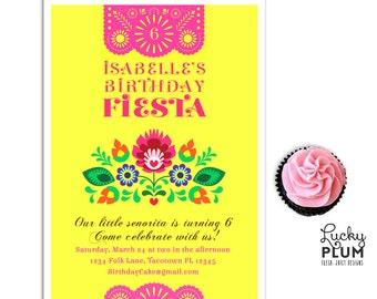 Fiesta Birthday Invitation / Papel Picado Invite / Folk Invite / Flower Invite / Mexican Fiesta Invite / Tribal Invite *Digital file*