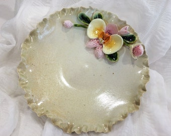 Ceramic plate, Ceramic bowl, Fruit bowl, Fruit plate, hand made, Stonware, Ceramic and pottery relief, Orchidsrelief, Flowers