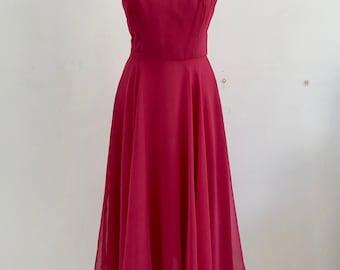 1970s Pink Chiffon Midi Disco Dress * Size X-Small - Small