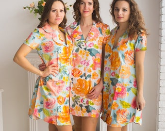 Bridesmaids Shirts in Her Petal Garden Pattern - Short Sleeved Notched Collar Style
