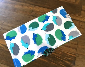 Hedgehog checkbook cover with handmade button closure unique coupon storage
