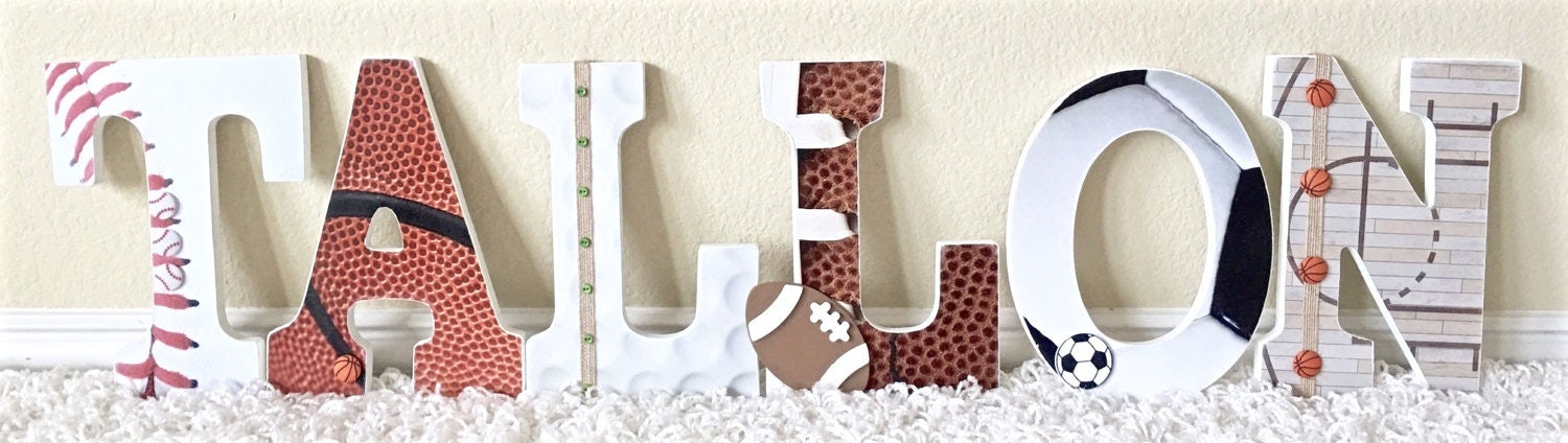 Sport themed nursery baby boy name wooden wall letters zoom negle Image collections