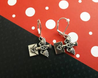 Special Delivery! Love Bird Charm Earring Set with Love Letters- Swell in Silver!