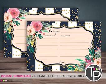 RECIPE CARD, Instant download RECIPE Card, Watercolor Flowers Recipe Card, Recipe Card printable, Bridal Shower Recipe Card, Kitchen Tea