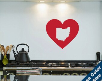 I Heart Ohio State Wall Decal - Love Sticker - Free Shipping