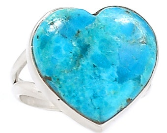 Turquoise Heart Sterling Silver Gemstone Ring Size 6