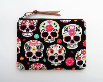 Skeleton sugar skull purse - sugar skull fabric pouch - cute make up bags - gift ideas for girls - small zipper bags - gift for skull lovers