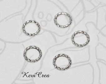 20x connecteurs anneaux torsadés métal argenté 8mm