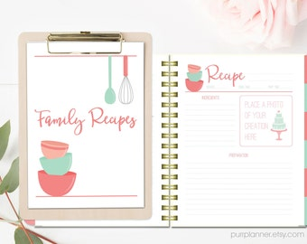 Recipe binder printable kit personalized family recipe printable recipe binder kit blank cookbook coral and mint recipe pages divider tabs solutioingenieria Choice Image