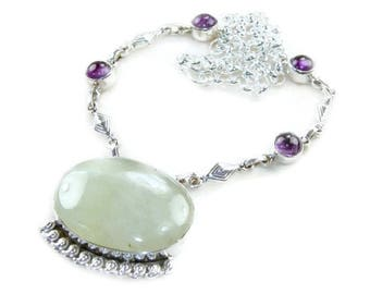 Green Serpentine and Purple Amethyst Necklace