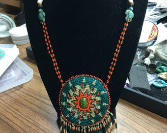 Hand beaded turtle rosette necklace