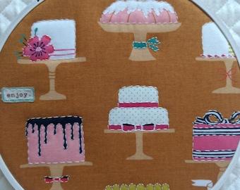 Hoop Art, Cake Hoop Art, Fabric Hoop Art, Handstitched Hoop Art, Quilted Hoop Art, Embroidery Hoop Art