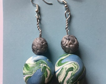 Earth and Moon Beaded Earrings