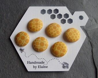Fabric Covered Buttons - 6 x 19mm Buttons, Handmade Button, Golden Custard Buttercup Banana Lemon Primrose Yellow Spotty Dot Buttons, 2489
