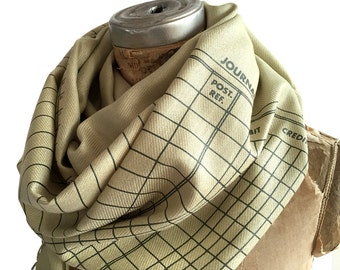 Accounting Scarf. Ledger Paper Print soft pashmina. Perfect accountant gift, CPA gift, tax preparer, tax attorney, bookkeeper.