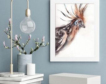 Bird portrait original watercolor painting, Hoatzin bird portrait watercolour wall art, bird art, painting of bird