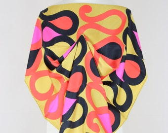 MAGGY ROUFF 1960s Vintage Silk Scarf Serpentine Pattern Bold Colours Gift for Her