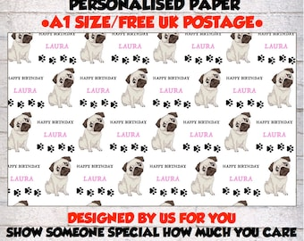 Personalised  Pug Birthday Wrapping Paper & 2 tags