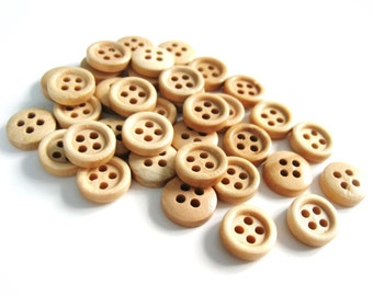 Mini Wood button - Natural 4 Holes Wooden Sewing Buttons 11mm - set of 36