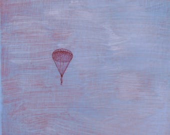 original small affordable art - Red Parachute - one of a kind acrylic painting by Irene Stapleford - wantknot shop
