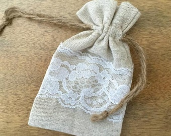 12 Lace and Linen Drawstring Bags - Craft Supply