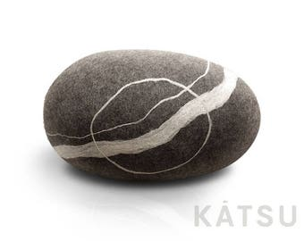 """Felt stone pillow. Model """"Sea Pebble"""" 80cm (31,5in). Wool Pillows and poufs by KATSU. Look like Rock and stone."""