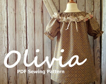 Olivia - Girl's Ruffled Peasant Dress Pattern PDF. Girl Kid Toddler Child Sewing Pattern. Easy Sew Sizes 1(12m)-10 included