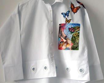 Hand painted shirt, shirt bohemian, hand painted blouse