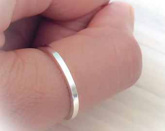 Modern Sterling Silver Band. Sterling Silver Stacking Ring, Sleek Silver Ring, Classic Style Ring, Silver Band, Wedding Band