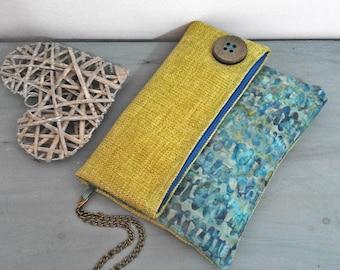 Arabesquebags - Foldover blue and green Clutchbag - batik Fabric