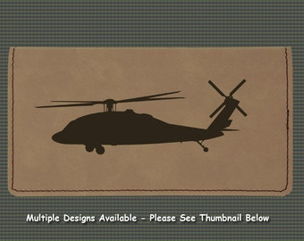 Engraved Leatherette Checkbook Cover - Helicopter Designs