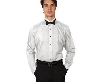 Men White Tuxedo Shirt with Wing Tip Collar