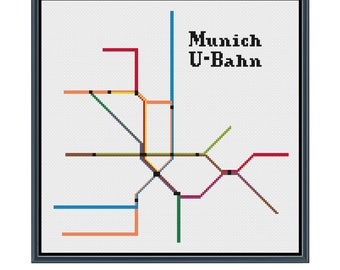 Munich U-Bahn Cross Stitch Pattern - Germany Subway Map Pattern - Metro Map Pattern - Home Decor - PDF Instant Download