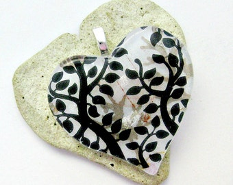Black White and Golden Trees Fused Glass Pendant