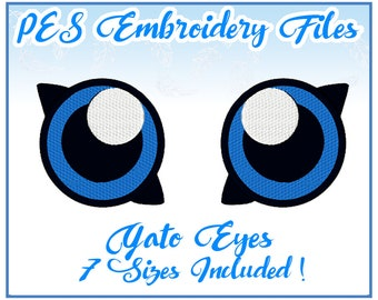 PES Gato Eyes Embroidery Files Instant Download- other formats available!