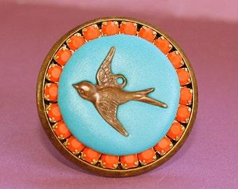Bird Ring - Adjustable Ring - Epoxy Clay