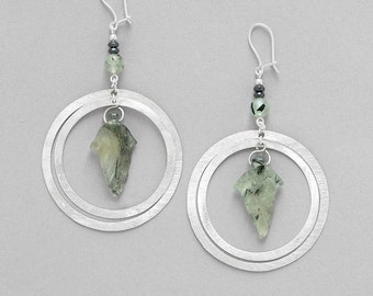 Earrings green Prehnite and Silver