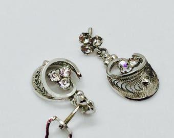 Silvertone Rhinestone Earrings