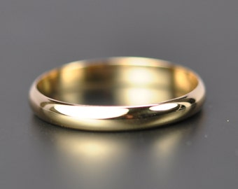14K Yellow Gold 3x1mm Half Round Classic Style Wedding Band or Fashion Ring, Recycled Gold Ring, Sea Babe Jewelry