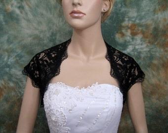 Black cap sleeve bridal lace wedding bolero jacket