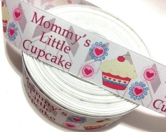 Mommy's Little Cupcake Ribbon, Cupcake Grosgrain Ribbon, Heart Cupcake Ribbon