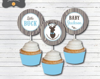 Deer Baby Shower Decorations Cupcake Toppers - Little Buck Baby Shower Decorations - DIY Printable PDF File