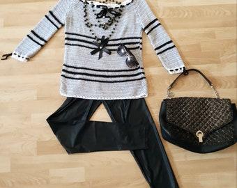 Woman handmade crochet  cashmere sweater new Chanel style