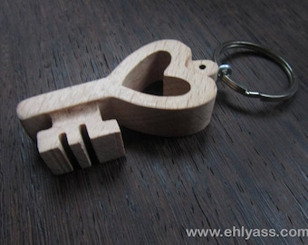 Solid wooden heart key made fretwork wooden keychain