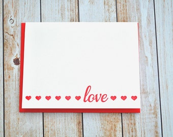 Letterpress love card , letterpress valentine , valentine's day, valentine's card, letterpress hearts , red heart, pink , LOVE